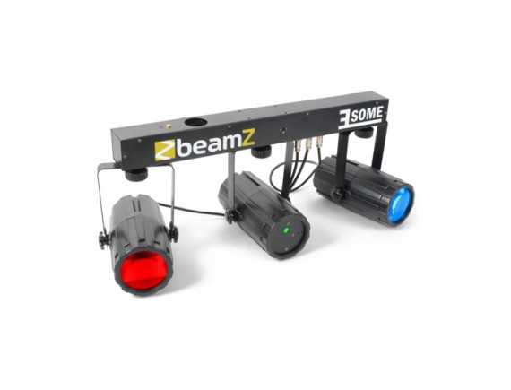BeamZ Set de 3x Lumini 2x 57 LED  Laser Rosu/Verde